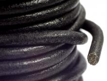 Кожаный шнур круглый цветчёрный матовый для рукоделия