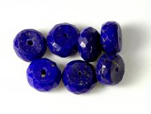 Камень-лазурит натуральный, с пиритовыми включениями, бусина формы рондель