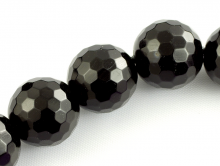 Бусина – Агат  натуральный, ограненный. Цвет -черный. Форма-шарик (крупный).