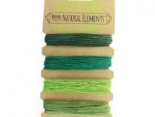 HEMP Шнур конопляный 1 мм., Набор из четырех сочетающихся цветов: темно-зеленый, изумрудный, салатовый, оливковый.