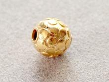 Круглая бусина ручной работы из серебра 925 пробы с покрытием золота