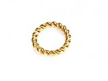 Кольцо серебряное, позолоченное витое 6 мм.