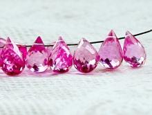 Бусина-капля, шпинель розовая мелкая.