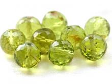 Бусина-хризолит натуральный природный, ф. ограненый шарик 6-5.5 мм. вн. отв. 0,45 мм., ручной огранки