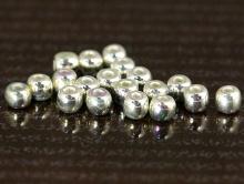 Бусины бисер-2 мм. Цвет-белое серебро с жемчужным переливом. Метериал- чешское стекло с покрытием стерлингового серебра (925)