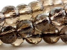 Бусина-шарик ограненный, камень-раух топаз натуральны (дымчатый кварц натуральный)