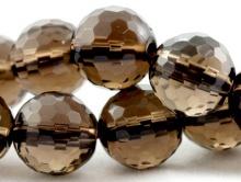 Бусина шарик ограненный-8+-0.30 мм. вн. отв. 1.1 мм., камень-раух топаз (натуральный дымчатый кварц),