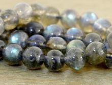 Бусина гладкая (полированная), камень натуральный лабрадор, цвет-серый, полупрозрачный с зелёно-голубым отливом,