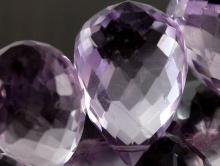 Бусина огранённая бриолет, камень-аметист натуральный, шахматная огранка.