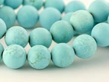 Бусины круглые матовые, камень натуральный говлит тонированный (имитация бирюзы)