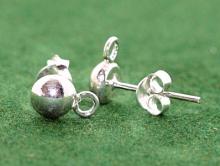 Гвоздики-пусеты серебряные, гладкие с хорошим блеском для изготовления серег, материал-серебро 925 (92.5 %) белое.,