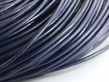 Кожаный шнур 2 мм. в диаметре, круглый для плетения, цвет-тёмно-синий холодный.