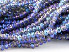 мелкие рондели огранённые, цвет бусин-прозрачный с сине-фиолетовым переливом.
