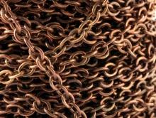 Цепочка для рукоделия паянная средняя, 3,2 мм. цвет медь состаренная