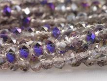 Бусины стеклянные средние, рондели огранённые, цвет бусин-прозрачный с фиолетово-золотистым переливом (покрытие частичное),