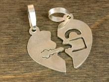"""Подвеска серебряная из двух половинок """"Сердце""""  для изготовления авторских украшений Handmade"""