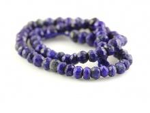 Бусины ограненные рондели, камень натуральный–лазурит, цвет-синий холодный с включениями. Размер–3 мм.