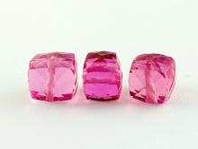 Бусина-огранённый  камень-шпинель розовая (иск. выращенная).кубик, ручной огранки, для изготовления украшений Handmade,