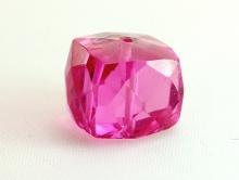 Бусина-огранённый крупный кубик, ручной огранки, для изготовления украшений Handmade, камень-шпинель розовая