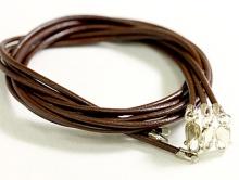 Шнурок 1.5 мм. из натуральной кожи  с серебряным замком 8 мм. из серебра 925 пробы STERLING SILVER,