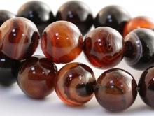 Бусина -агат натуральный (сардоникс), 12 мм., цвет -коричнево-янтарные теплые тона