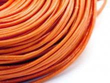 Кожаный шнур 2 мм. в диаметре, круглый, для плетения, цвет оранжевый, мягкий, эластичный