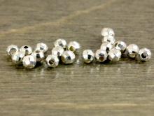 Бусина граненая мелкая из серебра стерлинг сильвер-распорка граненая, размер-2,2х2,2 мм. вн. отв. 0,6 мм.,