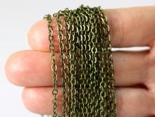 Цепочка гранённая 3.6 мм. цвет  латунь состаренная,