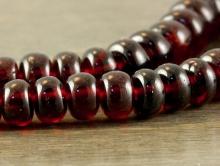 Бусина формы рондель, камень-гранат красный  (андраит), натуральный полированный. Цвет-красно-коричневый чистый