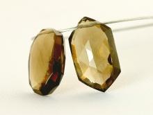 Бусина огранённая, форма лепесток ромбовидной формы, натуральный камень-раух топаз
