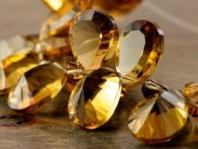Класс премиум, бусина-лепесток ограненный для авторских работ Handmade. Камень натуральный-золотистый топаз.