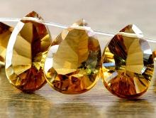 Бусина лепесток ограненный топаз золотой натуральныйКласс премиум, бусина-лепесток ограненный для авторских работ Handmade.