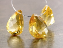 Камень-цитрин натуральный природного происхождения, огранка комбинированная форма бусины крупный лепесток.
