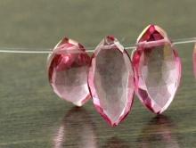 Бусина: топаз розовый лепесток 10х6х4.5 мм. за 1 шт.