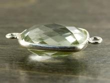 Коннектор серебряный с огранённой вставкой из празеолита (зелёный аметист). Вставка-аметист термически обработаный,