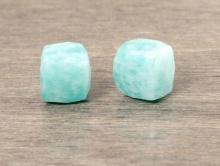 Бусина огранённая  кубик -камень амазонит натуральный, цвет-нежный бирюзово-голубой, размер кубика -7 (+-0,2) мм.
