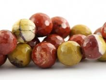 Бусины круглые огранённые из натурального камня–яшма мукаит, цвета-основные: кирпичный и жёлтый приглушенные, размер-10 мм.