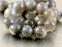 Бусина круглая огранённая, камень- лабрадор натуральный, цвет-серый с зелён-голубым переливом, диаметр-8 мм. вн. отв. 1.0 мм.,