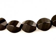 Бусина ограненая-камень натуральный агат,  форма овал, цвет-черный, размер–12х8 мм., внут. отв.-1,2 мм,