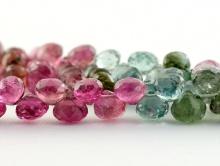 Бусины огранённые формы маленьких луковок, камень натуральный турмалин, цвет микс-розовый и зелено-голубой,