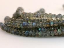 Бусины рондели огранённые из натурального камня-лабрадор, огранка ручная, цвет-серый с сине-голубым, жёлто-зелёным переливом,
