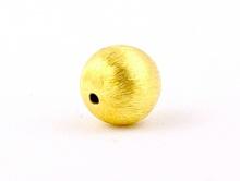 """Бусина 7 мм. из серебра позолоченная """"Шёлк"""", форма круглая с обработанной поверхностью и приятным шелковистым блеском, материал - серебро 925 пробы"""