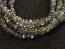 бусины рондели с голубым переливом, камень натуральный лабрадор