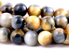 """Бусина круглая с эффектом """"кошачий глаз"""" полированный, камень натуральный петерсит, цвет-серо-голубой с бежевым и переливом, размер –8 мм."""