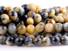 """Бусина круглая с эффектом """"кошачий глаз"""" полированный, камень натуральный петерсит, цвет-серо-голубой с бежевым и переливом, размер –6 мм."""