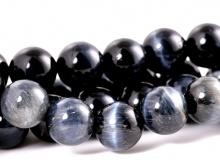 """Бусина, камень натуральный петерсит """"Соколиный глаз"""". Размер –10 мм. вн. отв. 1.3 мм. Цена за-10 шт. Цвет-тёмно-серый с хорошим серо-голубым переливом,"""