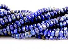 Бусины ограненные рондели, размер–3.5 мм., камень натуральный–лазурит, цвет-синий холодный с включениями.