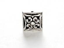 Бусина серебряная, форма-квадрат, для создания ювелирных украшений Handmade, размер-8х8х5.5 мм., вн. отверстие 1.1 мм.
