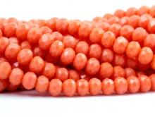 Стеклянные мелкие-бусины, рондели огранённые, размер: 4х3 мм. (+- 0,1 мм.). вн.отв. 0,6 мм. Цвет бусин-непрозрачный оранжевый (коралловый).