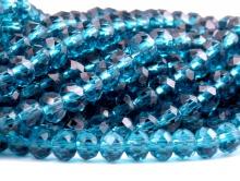 Бусины  огранённые стеклянные, форма-рондель, цвет бусин-прозрачный зелёно-голубой, размер  4х3 мм.